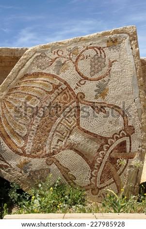 An old Roman mosaic with wine jar and grape  - stock photo