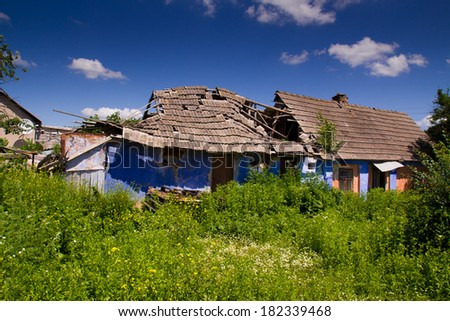An old  ruined country house - stock photo