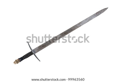 An old rusted replica of a medieval  broadsword. - stock photo