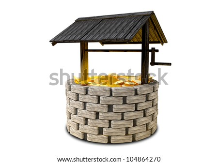 An old school brick wishing well with a wooden roof covering filled with shining gold coins - stock photo