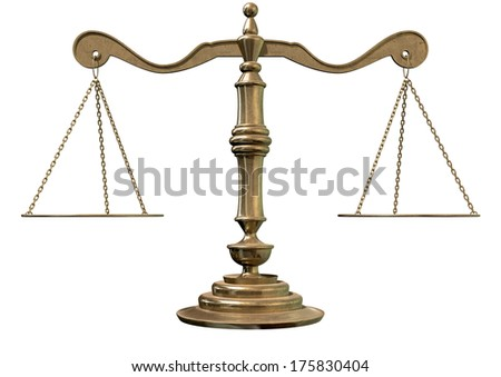 An old school bronze justice scale with flat weighing plates connected by chains on an isolated white background - stock photo