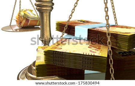 An old school bronze justice scale with stacks of south african rands on one side and a few crumpled notes on the other representing the inequality in the income gap  an isolated white background - stock photo