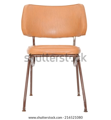 An old sitting chair isolated white - stock photo