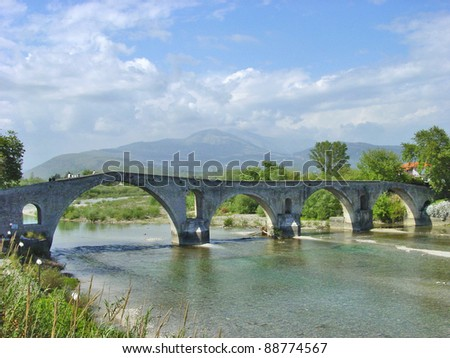 An old stone bridge at  Arta Greece - stock photo