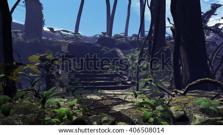 An old stone staircase in the wild forest. 3D illustration