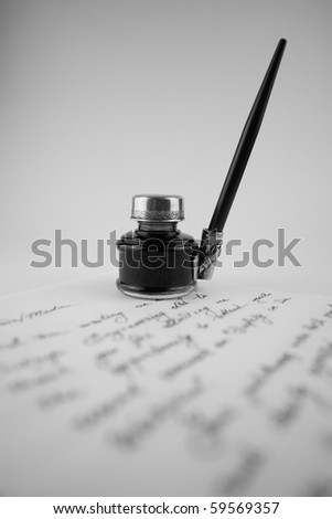 An old style calligraphy set onto the letter - stock photo
