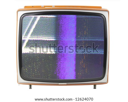 an old television with static on screen