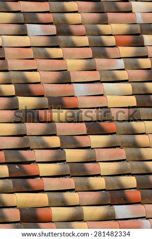 An old tile roof background, Provence, France - stock photo