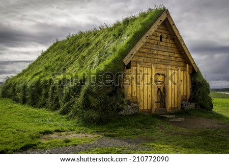 An old turf house in Skalholt, Iceland - stock photo
