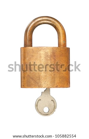 An old USN (United States Navy) brass lock and key isolated on white.