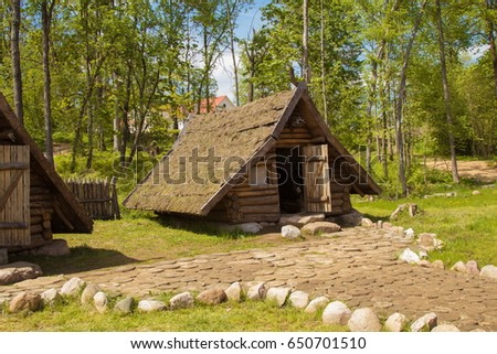 An Old Viking House, A Small Wooden Hut, Interior Details