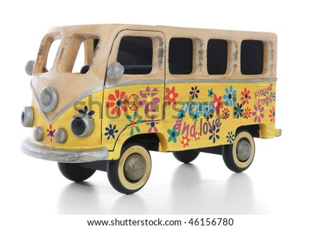 An old vintage hippie peace and love van over a white background - stock photo