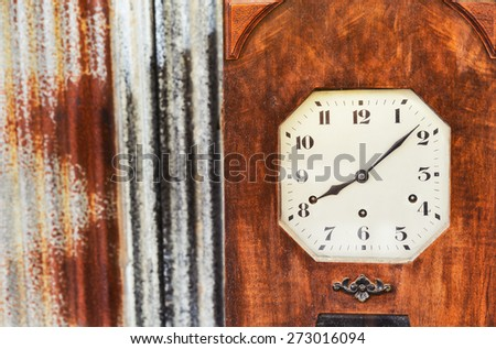 An Old Vintage Wood Clock - stock photo