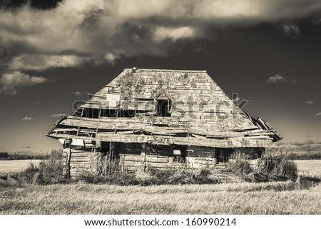 An old weather and rustic abandoned farm house. Processed with an infrared monochrome filter. - stock photo