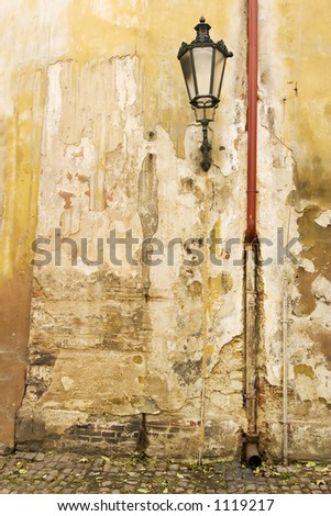 An old weathered wall abstract in Prage, Czech Republic.