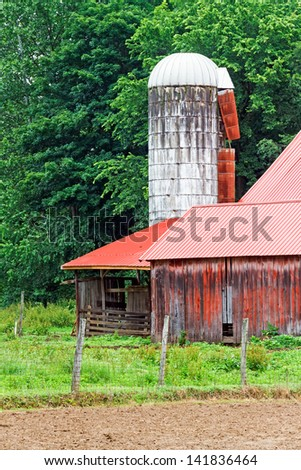 An old, weathered white silo stands by an old red barn with a metal roof in the agrarian countryside of South Central Ohio. - stock photo