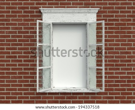 An Old Weathered Window Against a Brick Wall with a Blank Area - stock photo