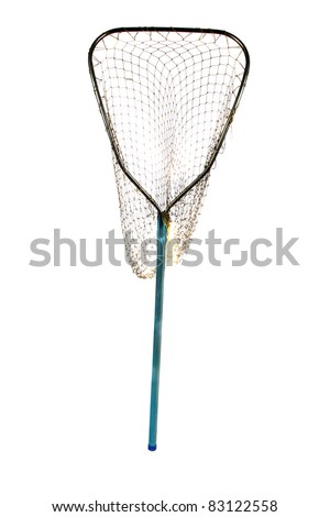 an old well used fish net. isolated on white with room for your text - stock photo