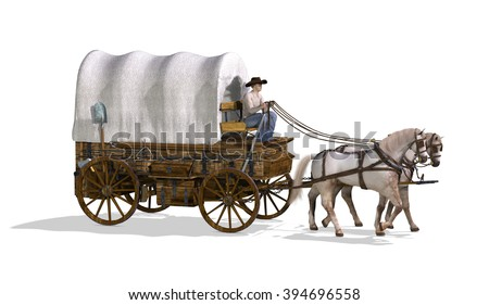 An old west covered wagon - 3d render. - stock photo