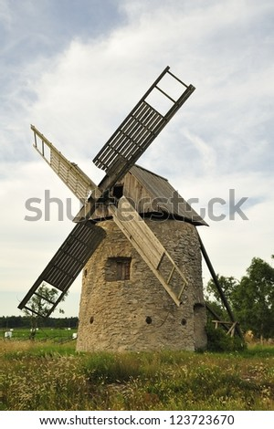 An old windmill, Gotland in Sweden.