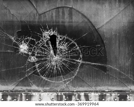 An old window shattered and broken. - stock photo
