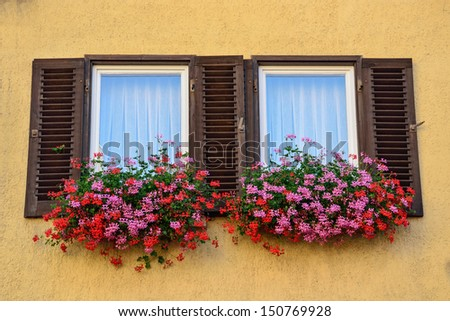 An old window with shutters in Tubingen, Germany