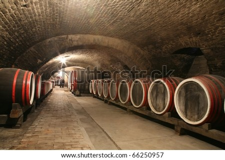 An old wine cellar with barrels - stock photo