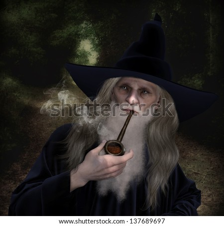 An old Wizard character dressed in a velvet blue Wizard Robe and hat smoking an old pipe.