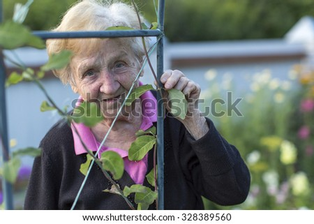 An old woman in his garden, closeup portrait. - stock photo