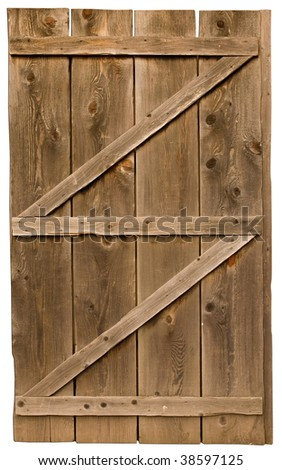 An old wood door isolated on a white background. - stock photo