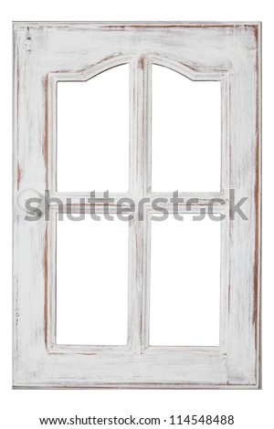 An old wood Window white paint and grunge, Isolated on white - stock photo