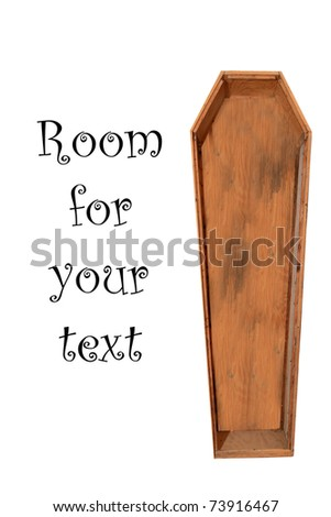 an old wooden coffin isolated on white with room for your text - stock photo