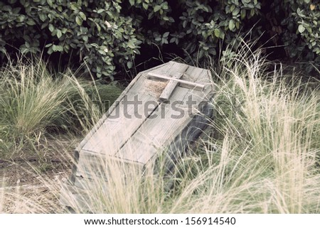 an old wooden coffin with a cross on top - stock photo