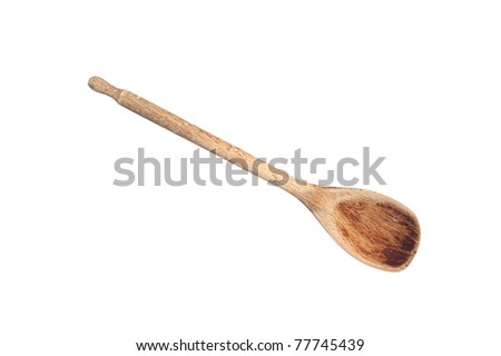 An old wooden cooking spoon isolated on white - stock photo