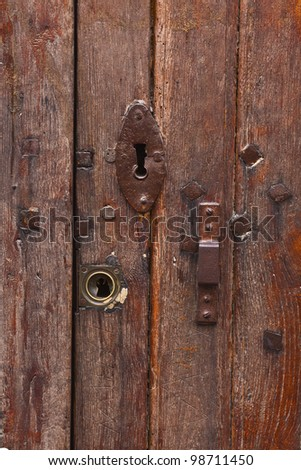 An old wooden door in France.
