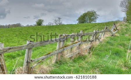Old Wooden Fence Posts Wrapped Barb Stock Photo 111353066