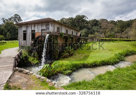An old wooden house with waterwheel at Rio Grande do Sul - Brazil