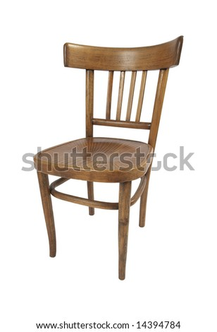 An old wooden stylish chair, isolated on white with path