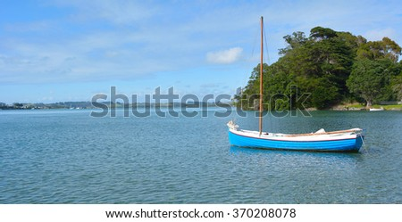 An old wooden yacht in Leigh, New Zealand. - stock photo