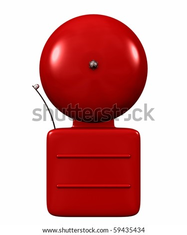 An older style alarm bell bright red isolated on white