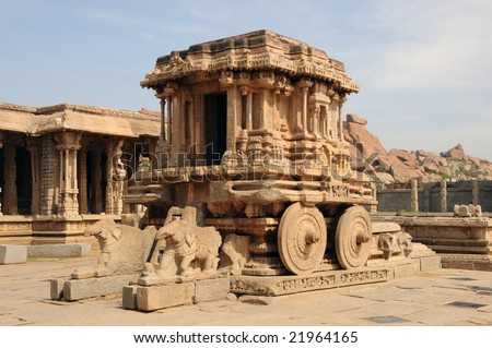 an omate stone chariot, a world heritage monument - stock photo
