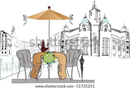 an open-air cafe - stock photo