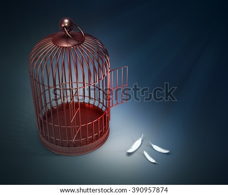 An open bird cage with feathers - freedom concept illustration - stock photo
