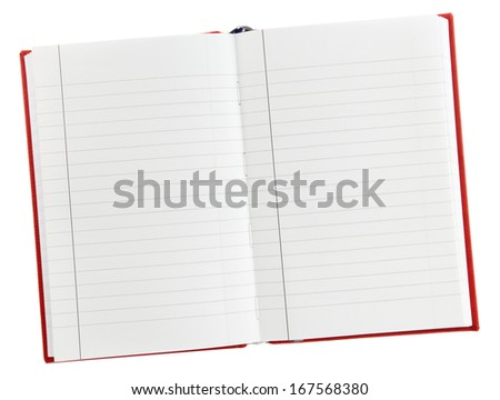 An open blank lined notebook isolated on white - stock photo