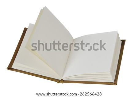 An open blank  notebook isolated on white background. - stock photo