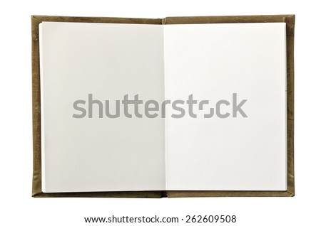 An open blank  notebook isolated on white background.