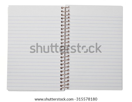 An open blank spiral bound notebook with blue lined pages, Isolated on white with clipping path. - stock photo