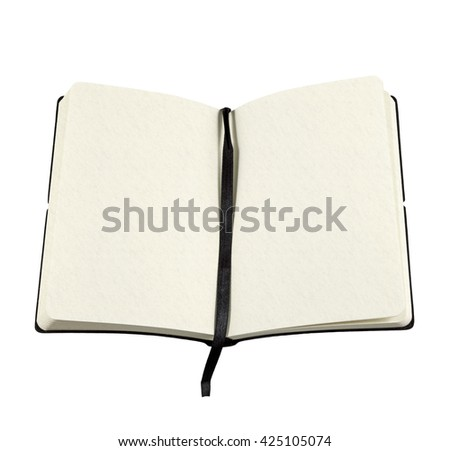 An open book with blank page for copyspace text isolated against white background.  - stock photo