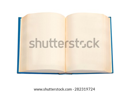 An open book with blue cover and empty pages - stock photo