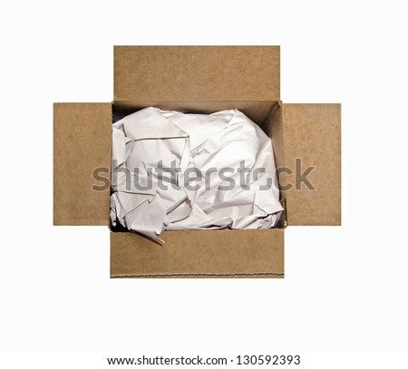 An open cardboard box filled with packing paper.